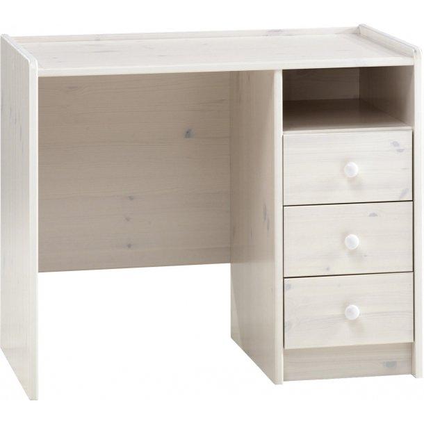 Molly Kids skrivebord 3 skuffer og 1 hylde hvid voks.