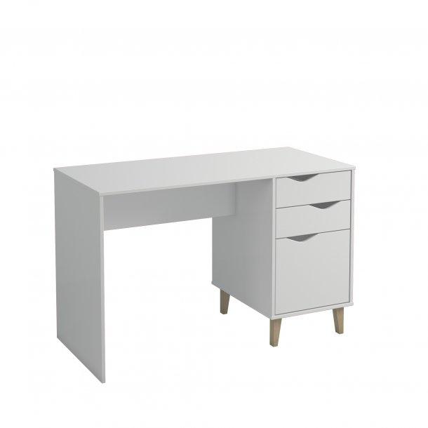 Scarm skrivebord 2 skuffer og 1 låge hvid.