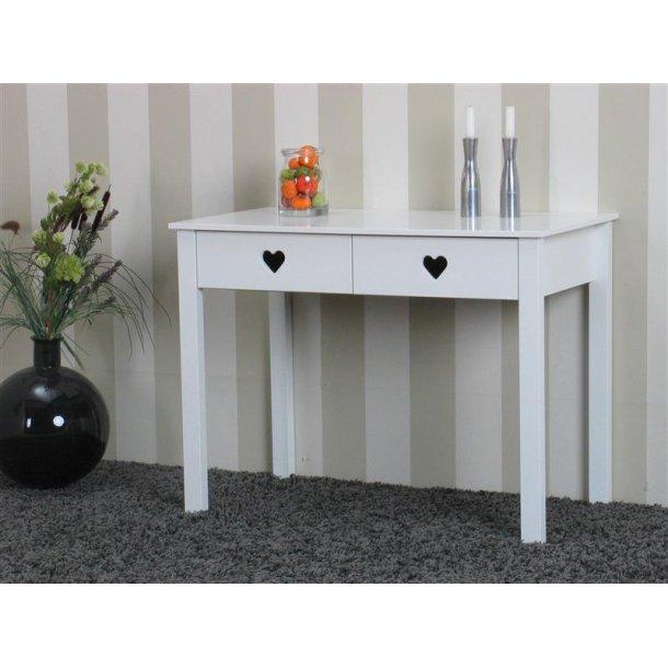 Maijke konsolbord med 2 skuffer og hjerte greb i hvid.