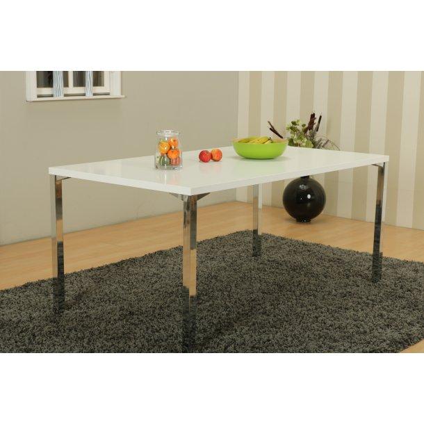 Mocca spisebord Kombi A 90 x 160 cm i hvid med chrome ben.