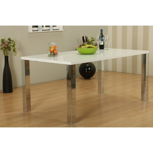 Mocca spisebord Kombi B 90 x 160 cm i hvid med chrome ben.