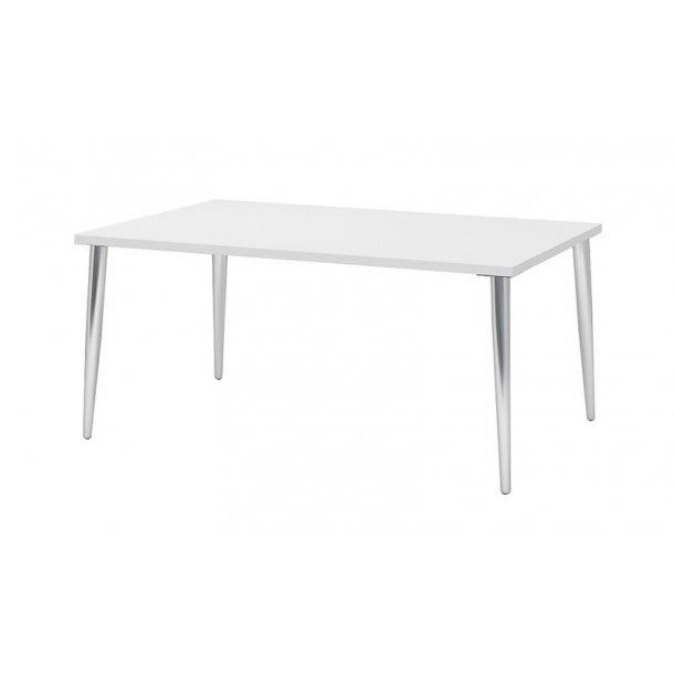 Mocca spisebord Kombi C 90 x 160 cm i hvid med chrome ben.