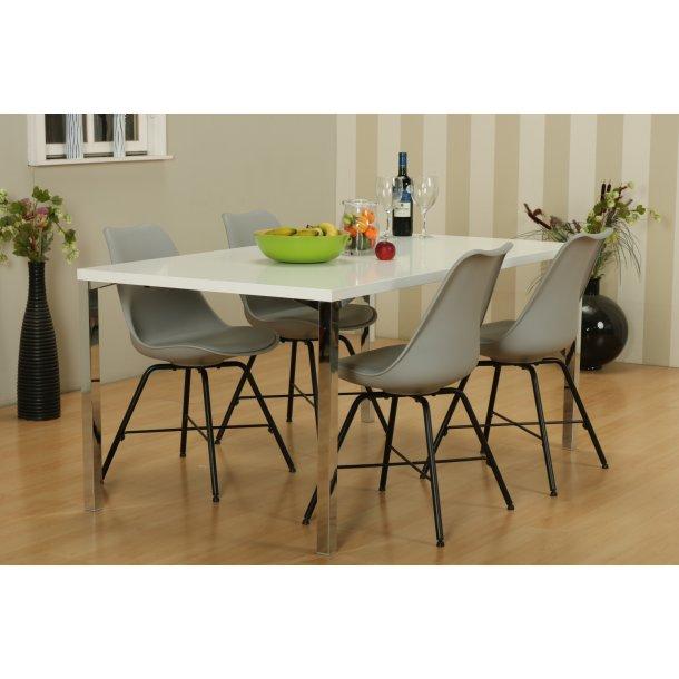 Mocca spisebordssæt A med spisebord og 4 grå Niko skalstole.