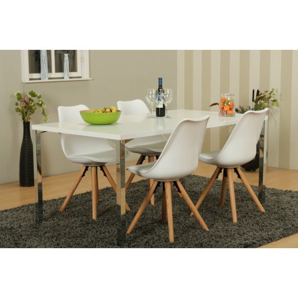 Mocca spisebordssæt A med spisebord og 4 hvide Nelle skalstole.