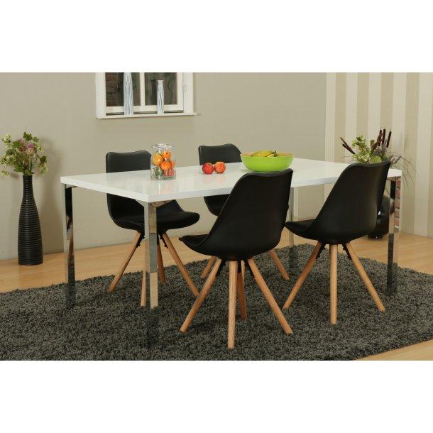 Mocca spisebordssæt A med spisebord og 4 sorte Nelle skalstole.