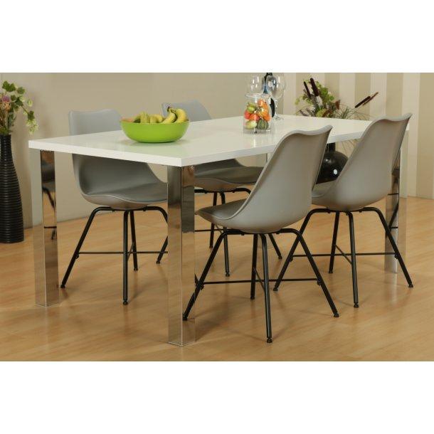 Mocca spisebordssæt B med spisebord og 4 grå Niko skalstole.