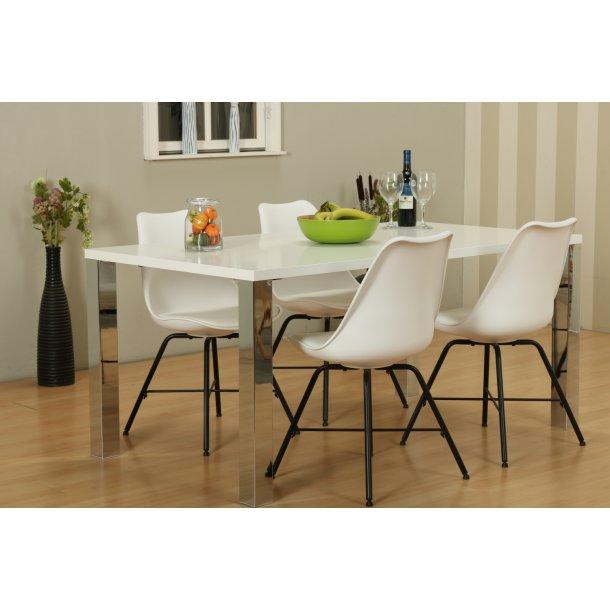 Mocca spisebordssæt B med spisebord og 4 hvide Niko skalstole.