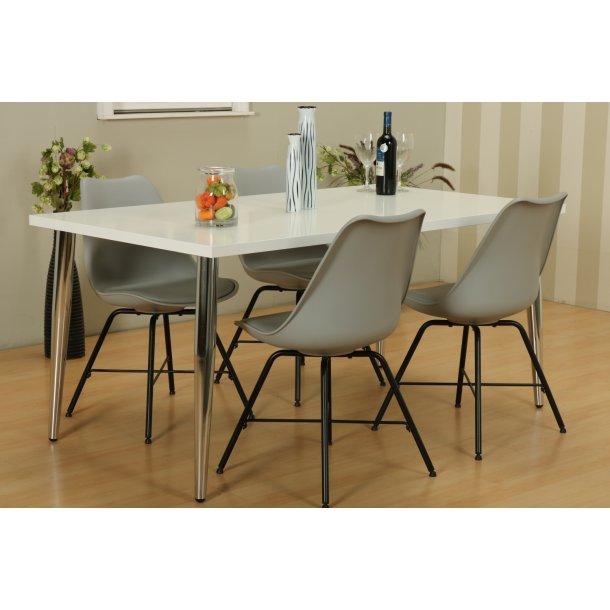 Mocca spisebordssæt C med spisebord og 4 grå Niko skalstole.