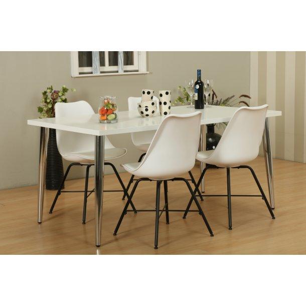 Mocca spisebordssæt C med spisebord og 4 hvide Niko skalstole.