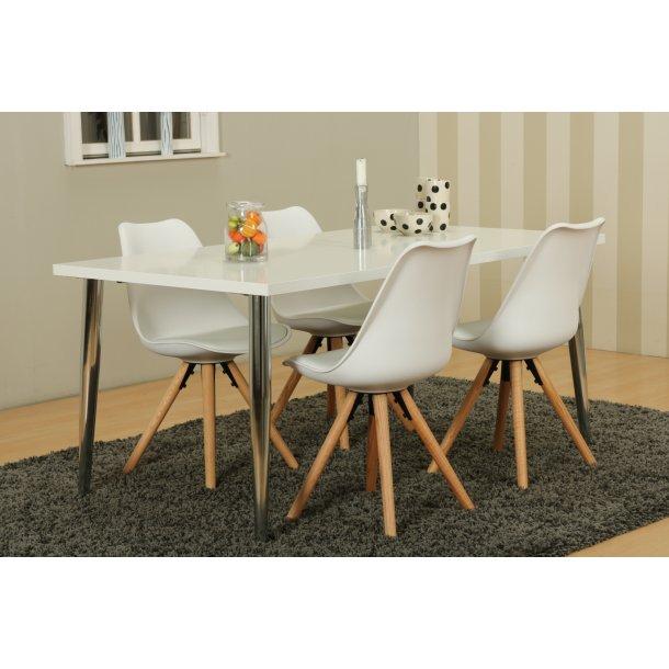 Mocca spisebordssæt C med spisebord og 4 hvide Nelle skalstole.