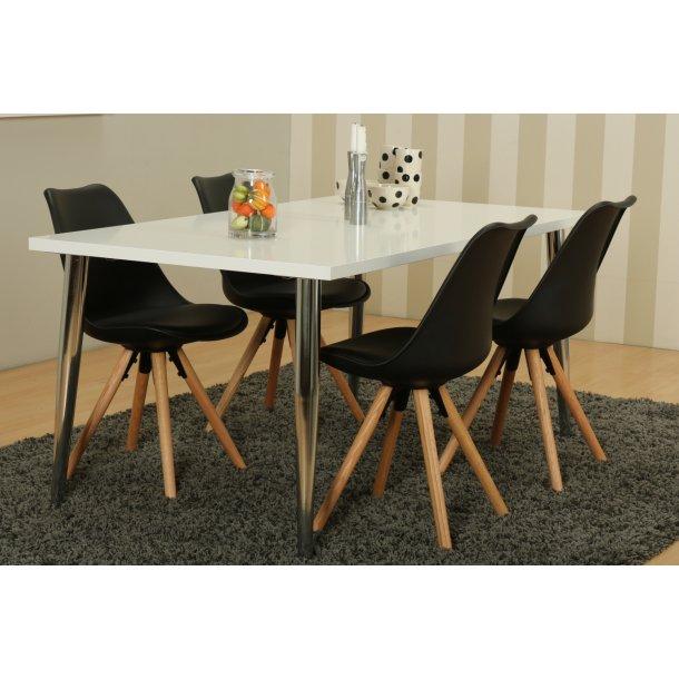 Mocca spisebordssæt C med spisebord og 4 sorte Nelle skalstole.