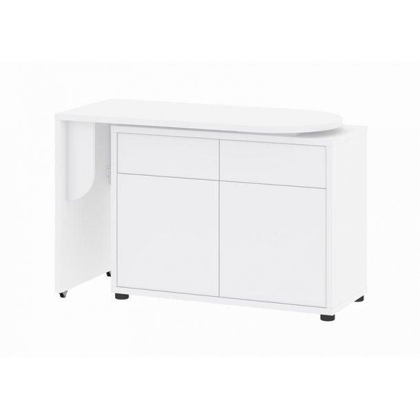 Prima skrivebord med flytbar bordplade og opbevaring i hvid.