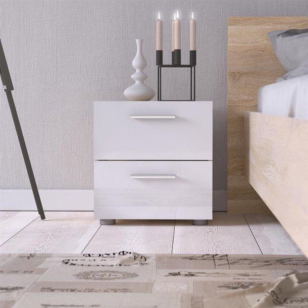 Pepe natbord med 2 skuffer i hvid højglans og ege dekor.