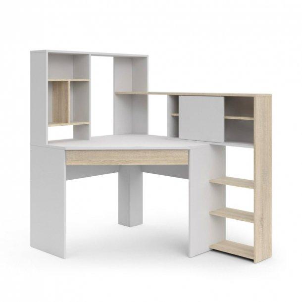 Fula skrivebord 1 skuffe hvid og eg struktur dekor.