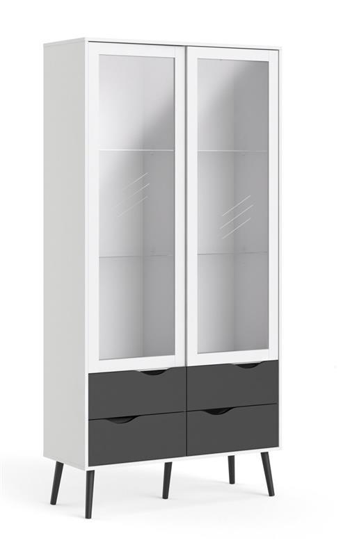 napoli vitrine mit 2 t ren und 2 schubladen weiss und matt schwarz bestellen sie hier. Black Bedroom Furniture Sets. Home Design Ideas