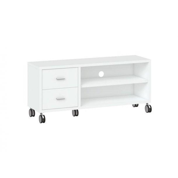 Boye TV bord med 2 skuffer og 1 hylde i hvid.