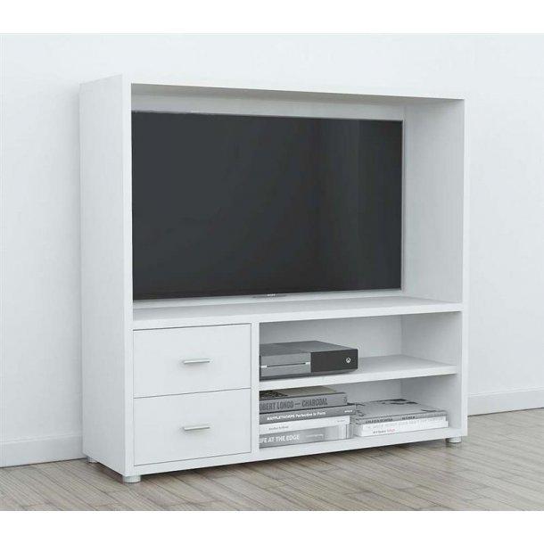 Bocca TV reol med 1 stort åbent rum, 2 hylder og 2 skuffer i hvid.