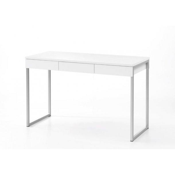 Fula skrivebord 3 skuffer hvid og stål.
