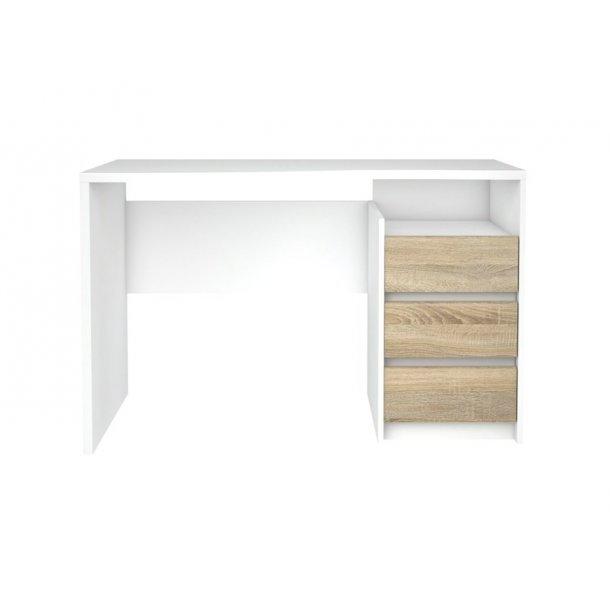 Fula skrivebord hvid og eg struktur.