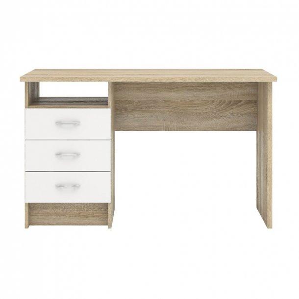 Fula skrivebord 3 skuffer eg struktur dekor og hvid.