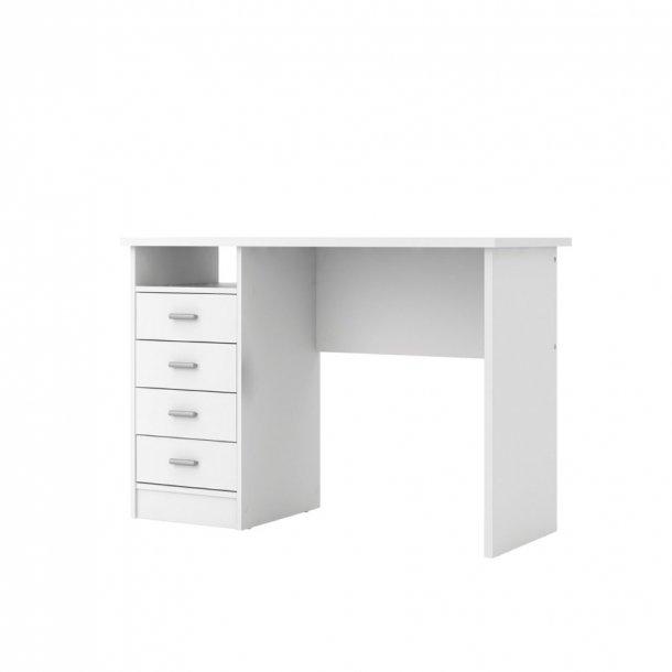 Fula skrivebord 4 skuffer og 1 hylde, hvid.