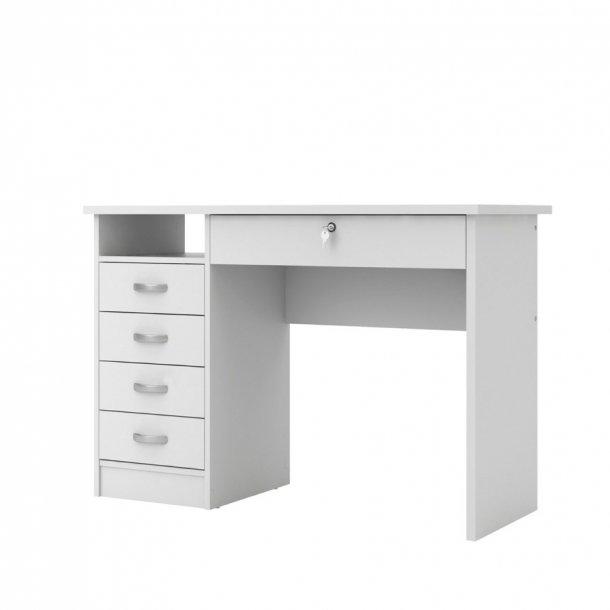 Fula skrivebord 5 skuffer hvid.