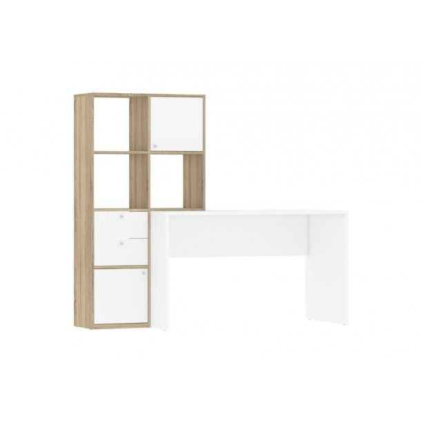 Fula skrivebord 6 rum med 2 låger og 2 skuffer eg struktur og hvid.