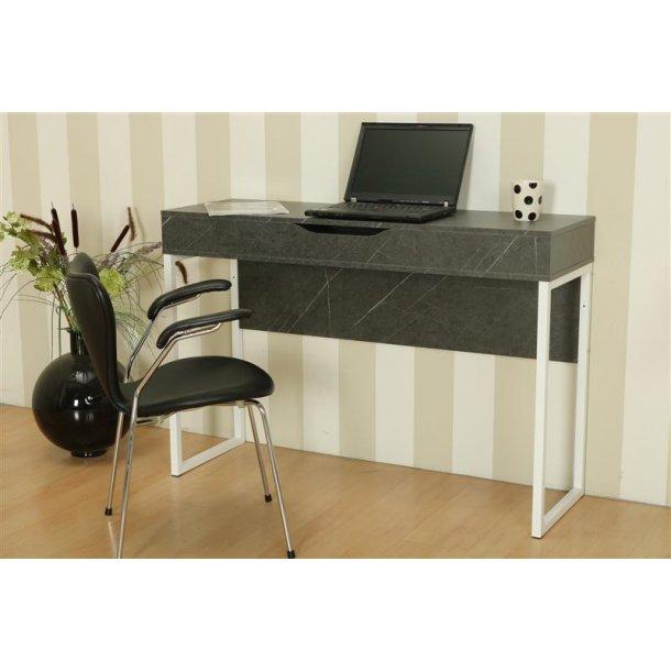 Function skrivebord med 1 stort opbevaringsrum i grå meleret og med hvidt stel.