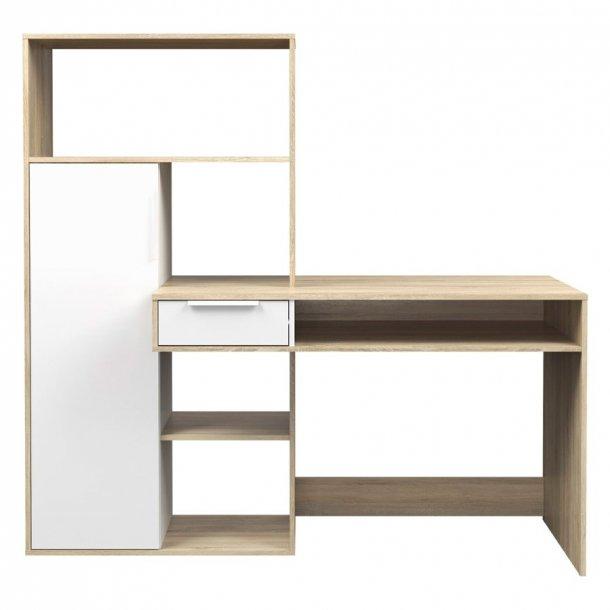 Fula skrivebord 1 skuffe og 1 dør eg struktur og hvid.