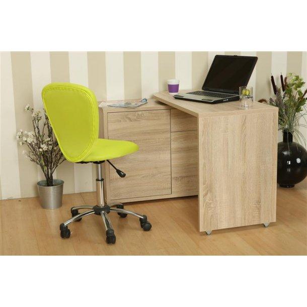 Prima skrivebord med flytbar bordplade og opbevaring i ege dekor.