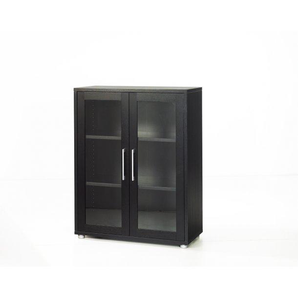 Prisme kontorarkiv 2 glaslåger sort ask dekor.