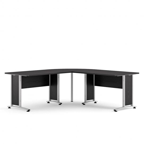 Prisme skrivebord A sort ask dekor og sølvgrå stål.