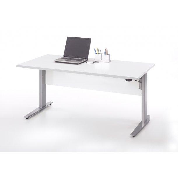 Prisme skrivebord A elektronisk hæve/sænke hvid og sølvgrå stål.