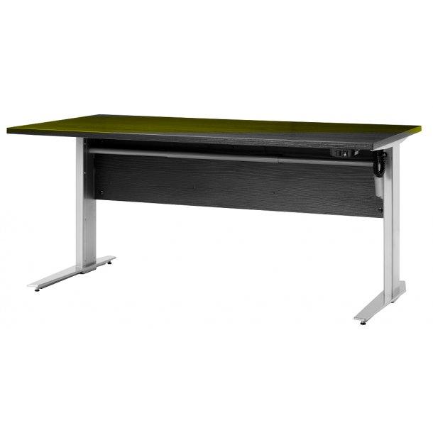 Prisme skrivebord B elektronisk hæve/sænke sort ask dekor og sølvgrå stål.