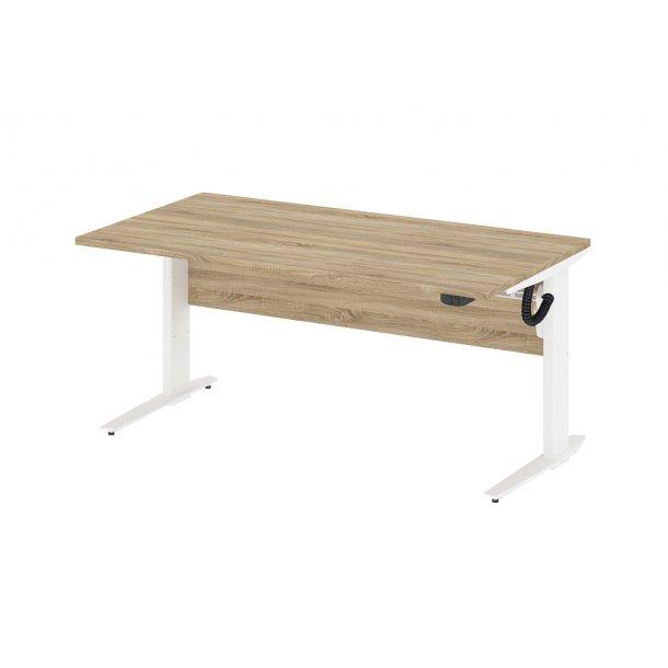 Prisme skrivebord A elektronisk hæve/sænke eg struktur dekor og hvid.