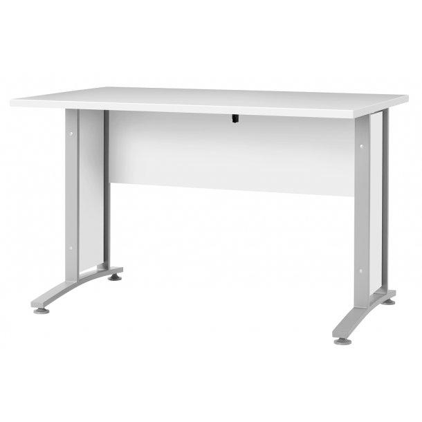 Prisme  skrivebord  hvid og sølvgrå stål.