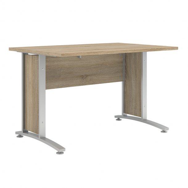 Prisme skrivebord C eg struktur dekor og sølvgrå stål.