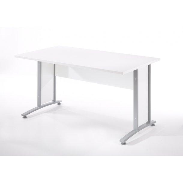 Prisme skrivebord B hvid og sølvgrå stål.