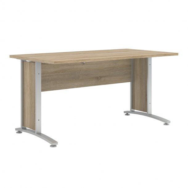 Prisme skrivebord D eg struktur dekor og sølvgrå stål.
