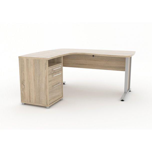 Prisme skrivebord 3 skuffer eg struktur dekor.