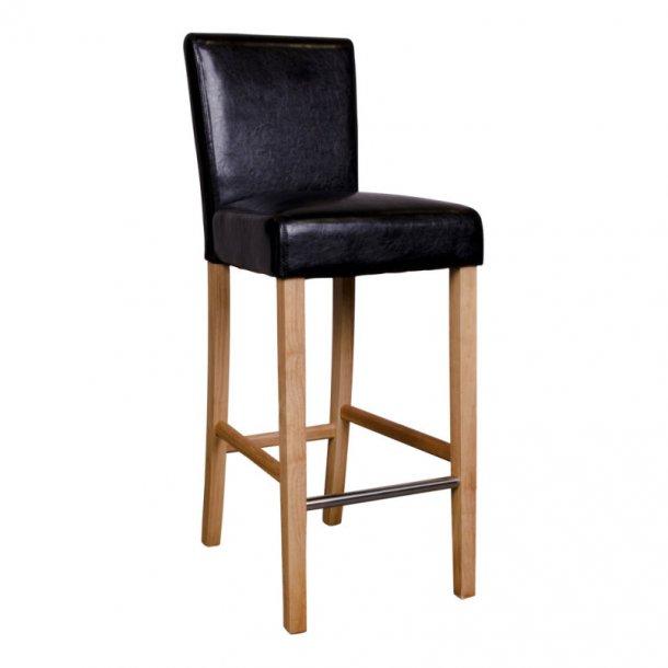Ball barstol i sort PU kunstlæder med træben.