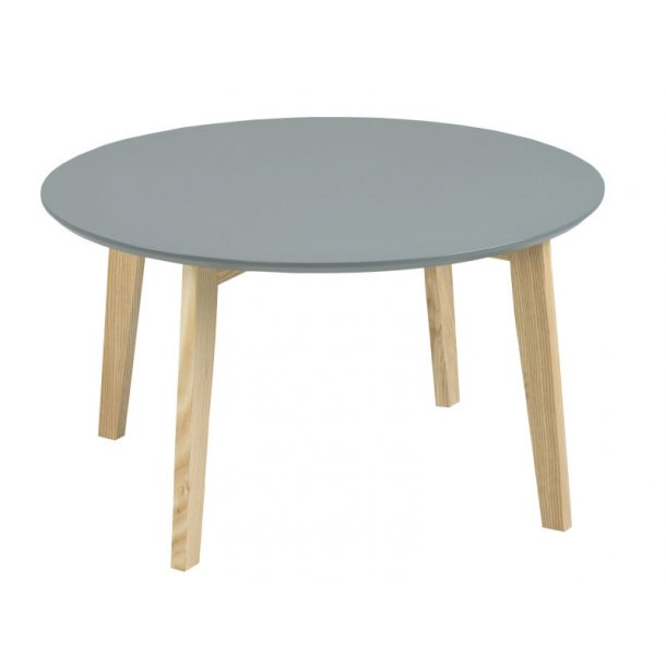 Mona mørk grå sofabord Ø80 cm og ben i massiv ask.