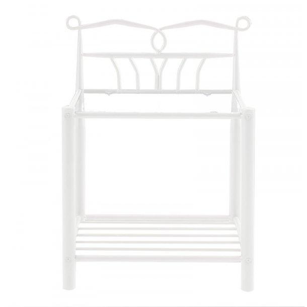 Nattbord Linax i metall hvit med bordplate i herdet glass.
