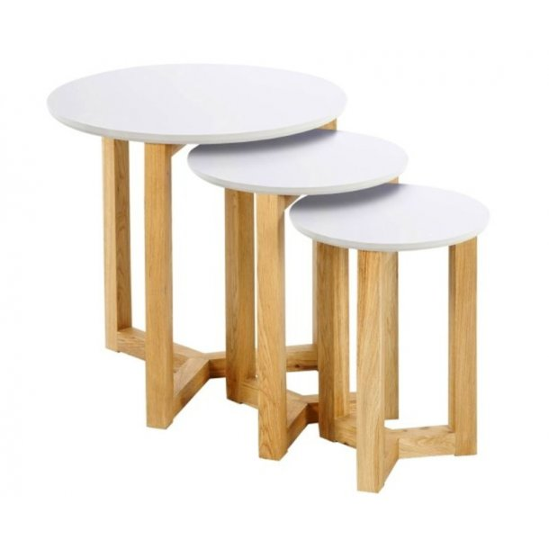 Sofabord Ollie som 3 indskudsborde i hvid og massiv eg.