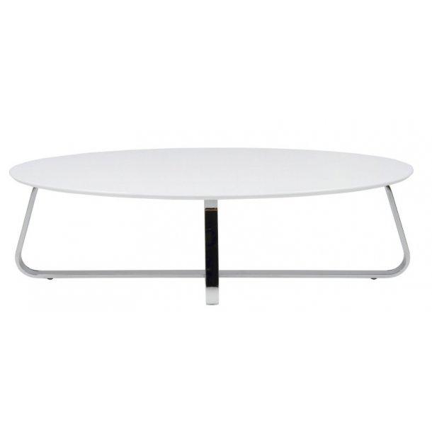 Kokus sofabord mat hvid lakeret og chrome stel.