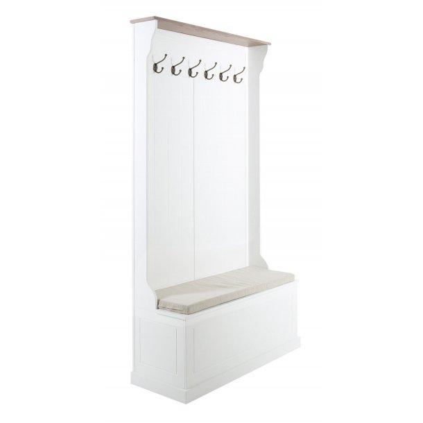 Astrid entre møbel med knager, siddepladser og opbevaringsplads under sæde i hvid og antik brun.