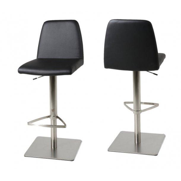 Amalie barstol i sort PU kunstlæder med hæve, sænke funktion.