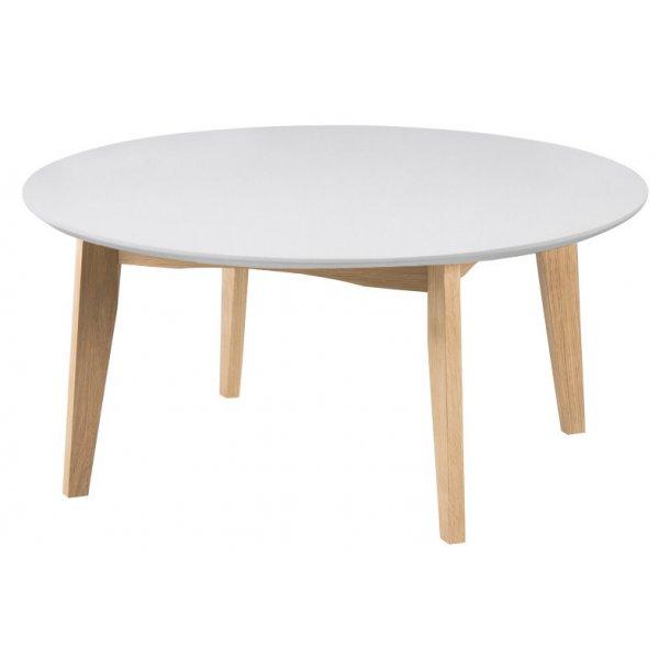 Astrid sofabord i hvid og eg, Ø 90 cm.