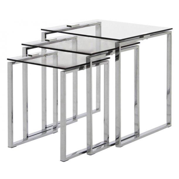 Sofabord Kamma som 3 indskudsborde i glas og chrome.