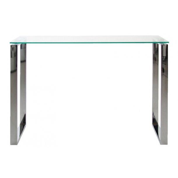 Konsolbord Kate med klar glas og chrome stel.